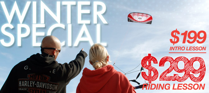 Winter Kiteboarding Lesson Specials - Air Padre