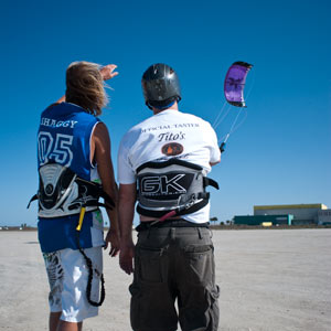 Day one of beginners kite boarding camp on sand flats of South Padre Island