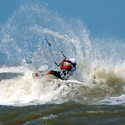 strapped kitesurfing in South Padre Island, Texas