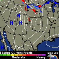 United States Weather pressure map