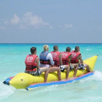 Banana boat rides on south padre island, texas gulf coast of america