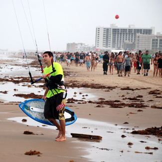 Kite Skimboarding on South Padre Island Beach